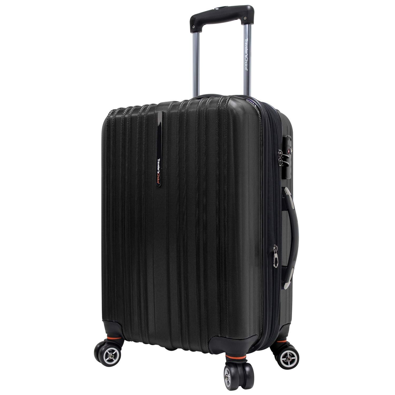 Traveler s Choice Tasmania 100 Pure Polycarbonate Expandable Spinner Luggage, Black