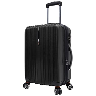 Traveler's Choice Tasmania 100% Pure Polycarbonate 21  Expandable Spinner Luggage, Black