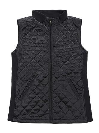 Bienzoe Women Slim Casual Zip Quilted Sleeveless Light Weight Vest Stretch  Rib Black S ef004de318