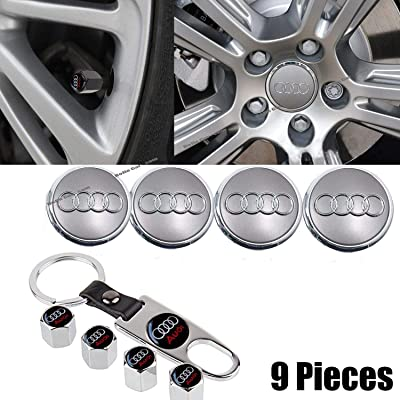4PCS for Audi Logo Emblem Badge Wheel Stem Centre Hub Caps Cover +1 Set Metal Car Wheel Tire Valve Stem Caps with Key Chain Combination Set,fit for Audi.: Automotive