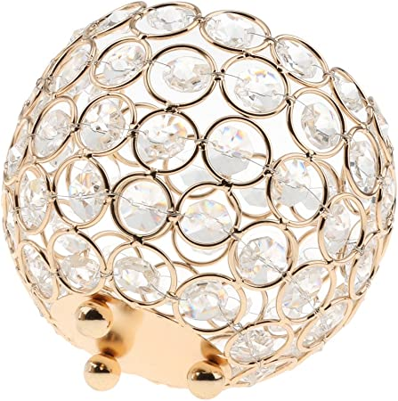 Kristall Kugel Teelichthalter Kerzenständer Kerzenhalter Deko Gold 12cm