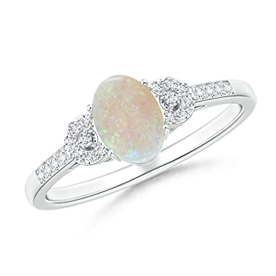 Angara Solitaire Oval Opal Cathedral Ring with Diamond Accents mHdKn