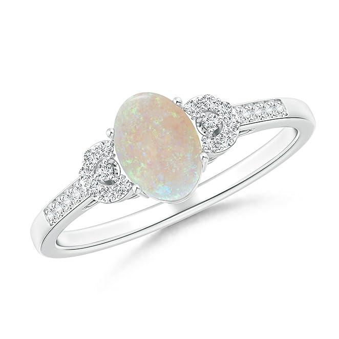 Angara Opal Diamond Ring in White Gold - October Birthstone Ring r0I1lA3W