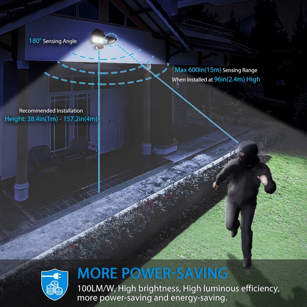 IP65 Au/ßenbeleuchtung F/ür Garten Terrasse 5000K wei/ß 18W Au/ßenstrahler 1800lm LED Strahler mit Bewegungsmelder 4 Modi einstellbar Au/ßenleuchte mit PIR D/ämmerungssensor 100Lm//W