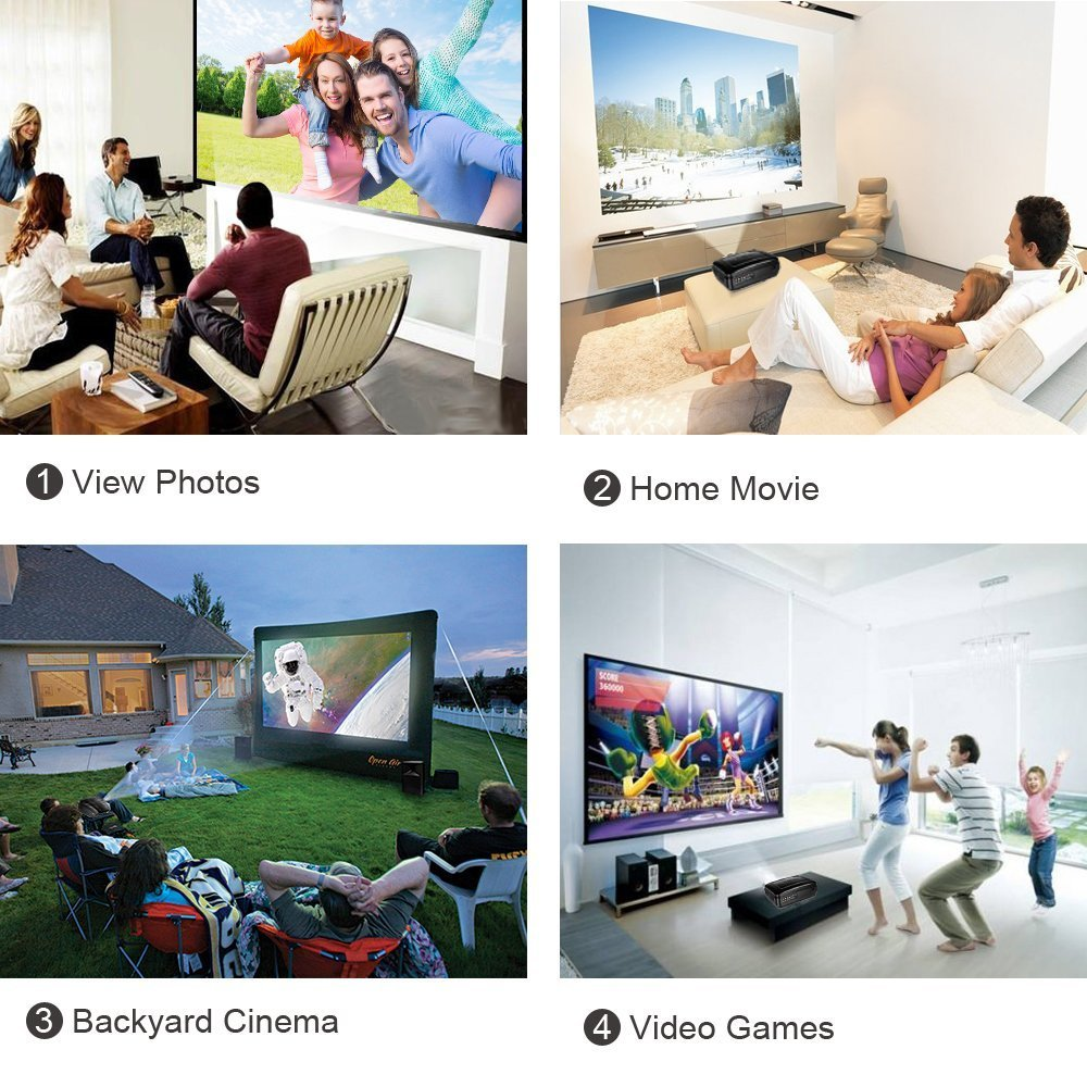 Paick 3200 Lumens LED Video Projector Multimedia Home Theater Movie Projectors Support HD 1080P HDMI VGA AV USB for Home Cinema TV Laptop Games Smartphone by Paick (Image #3)