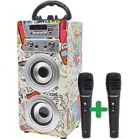 DYNASONIC - Altavoz Bluetooth Portatil Karaoke con Micrófonos Incluidos | Lector USB y SD, Radio FM Modelo 025 (2…