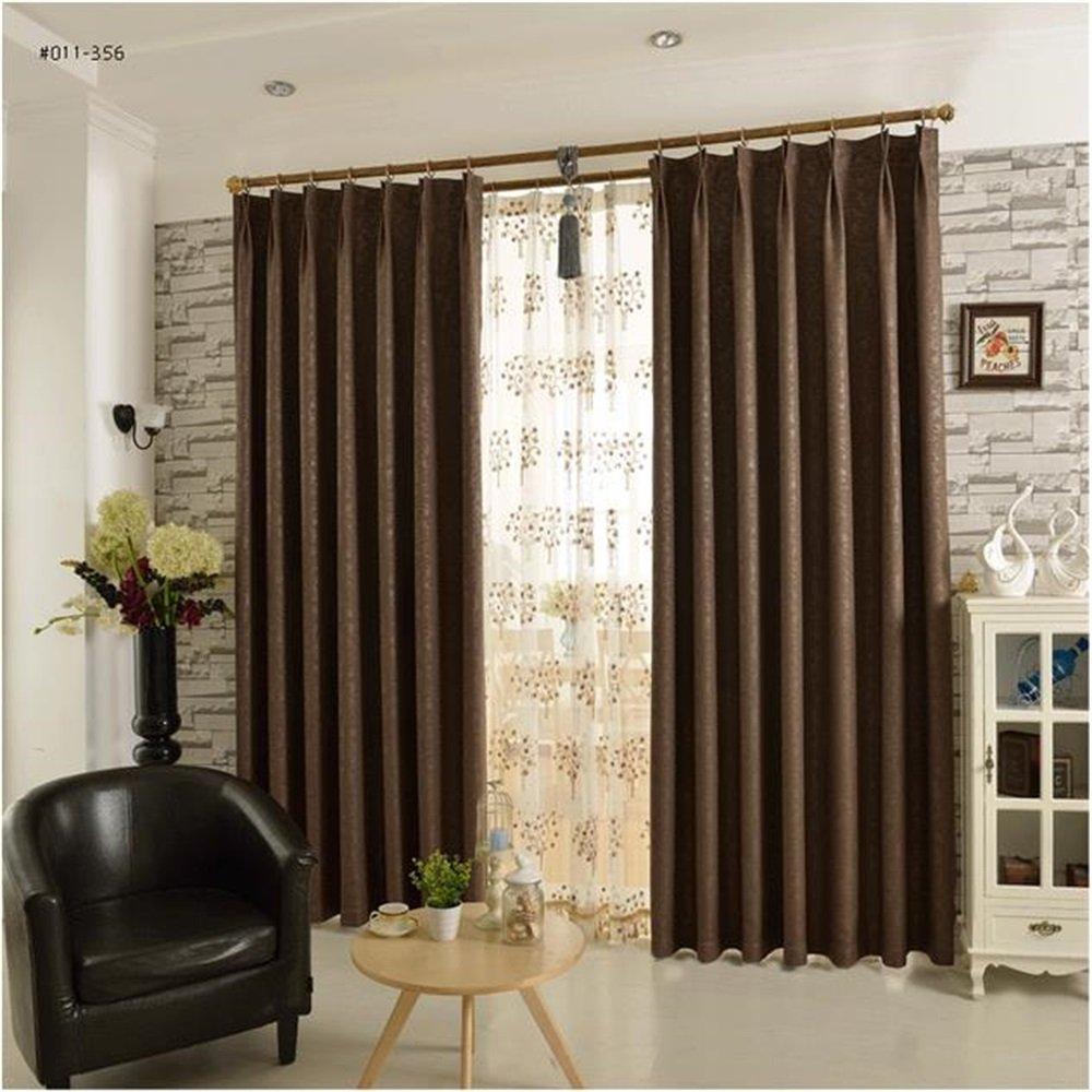 HOME UK- Ein Satz von 2 PC geprägtes Flachs-Vorhang-Schattierung-fertiges Produkt-Wohnzimmer-Schlafzimmer-einfache moderne moderne Farbe ( größe : 4*2.7m (width*height) )