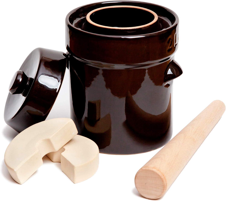 Fermentation Crock Jar 3 Liter Stoneware Pot for Fermenting or Pickling Kimchi