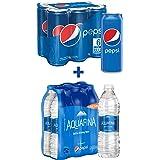 Pepsi Carbonated Soft Drink Cans, 330 ml x 6 + Aquafina, 500 ml x 6