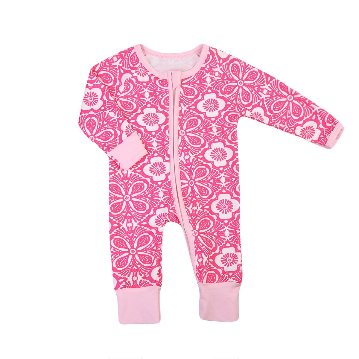 d38a027101 Amazon.com  ITFABS Newborn Baby Girl Pajamas Floral Sleeper Cute Flower  Print Coveralls Clothes  Clothing