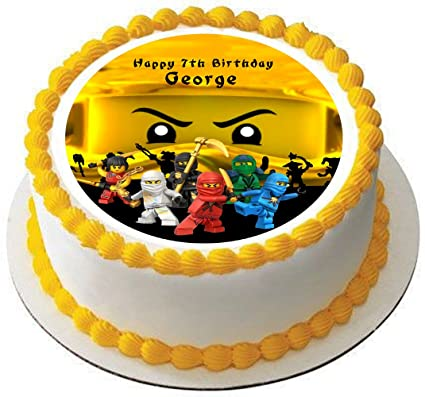Ninjago Personalized Cake Topper Icing Sugar Paper 75 Ninja Gold Amazoncouk Kitchen Home