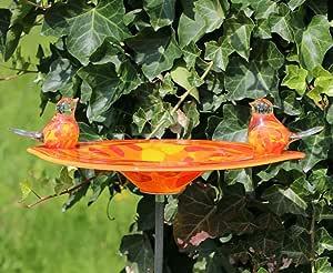 Edle Bebedero para pájaros con 2 pájaros de cristal hecha a mano pájaro baño cristal objeto Bebedero para pájaros: Amazon.es: Jardín