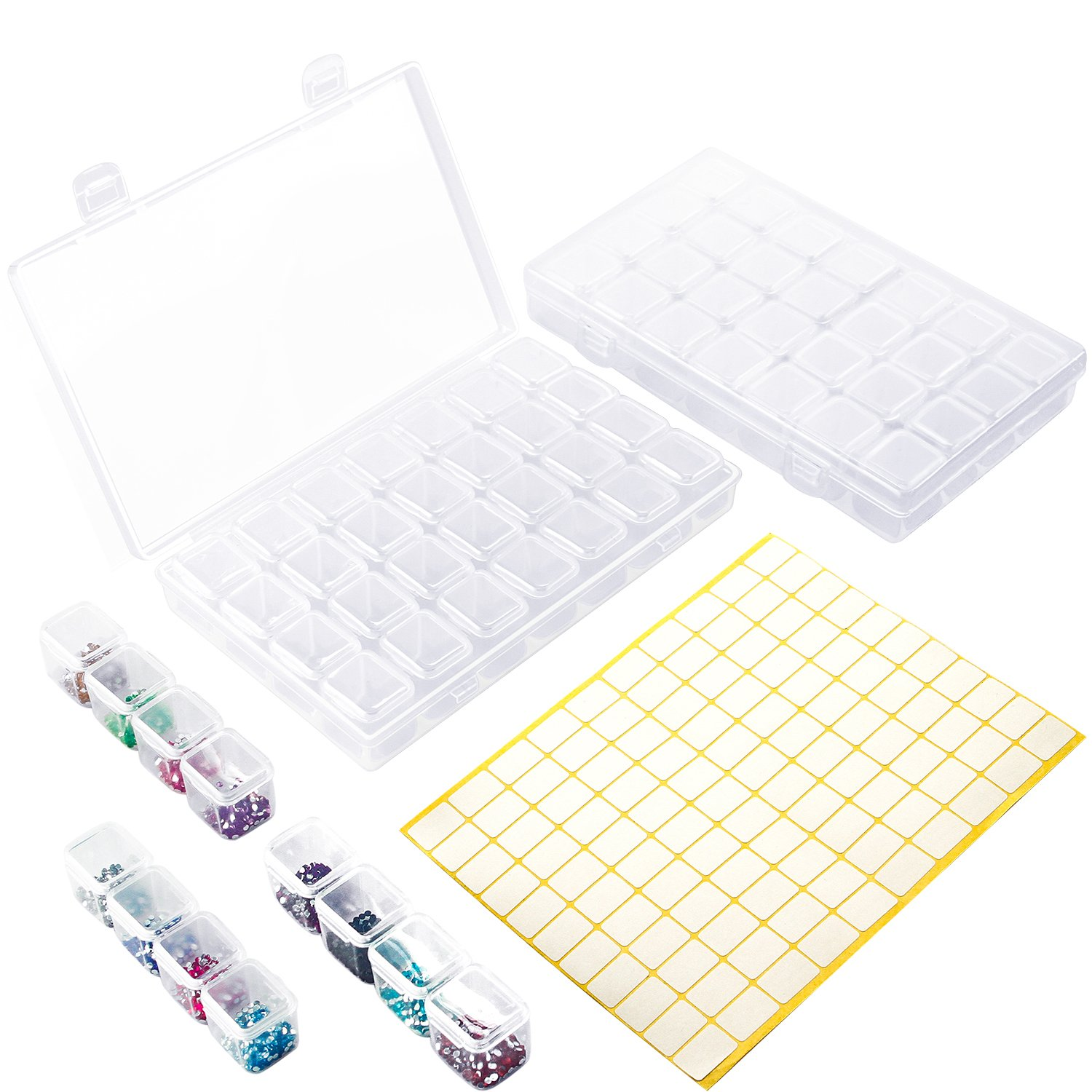Aneco 2 Pack 28 Slots Diamond Painting Embroidery Box Diamond Painting Accessory Storage Box with 110 Pieces Craft Label Marker Sticker (2) 4336934961
