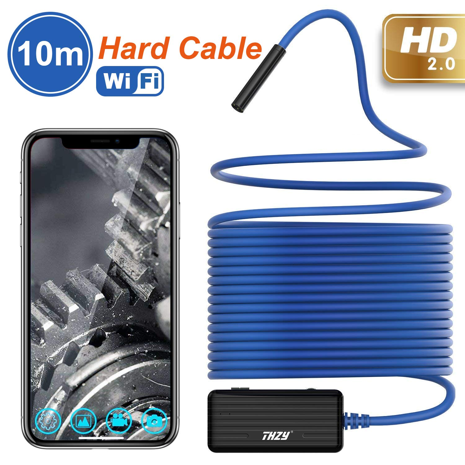 Wireless Endoscope THZY 1200P HD 10m WiFi Borescope Inspection Camera 2.0 Megapixels Snake Camera for Android iOS Smartphone, iPhone, Tablet iPad Blue by THZY