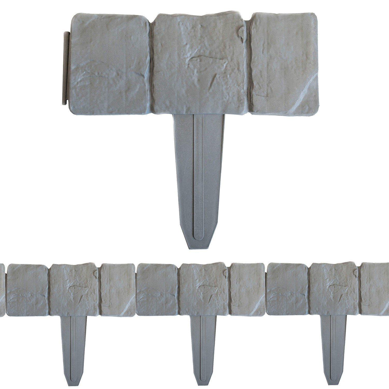 10 Stück Beeteinfassung Gartenzaun Zierzaun ca 250cm Stein Optik