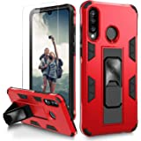 Nvollnoe for Huawei P30 Lite Case with Screen Protector Military Grade Dual Layer Heavy Duty Shockproof Cover with Built-in K