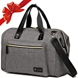 Diaper Bag, RUVALINO Large Dipaer Tote Stylish for Mom and Dad Convertible Travel Baby Bag for Boys and Girls with Changing Pad, Insulated Pockets (Grey)