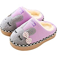Resonda Boys Girls House Slippers Warm for Winter Indoors Shoes Cute Bedroom Slippers with Fur Lined