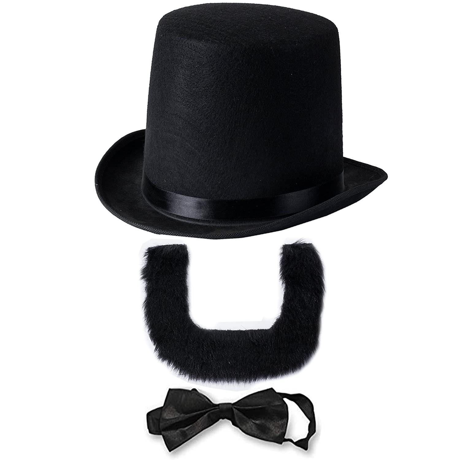 Funny Party Hats Abraham Lincoln Costume Set - Hat with Beard and Necktie by (3 PC Set)