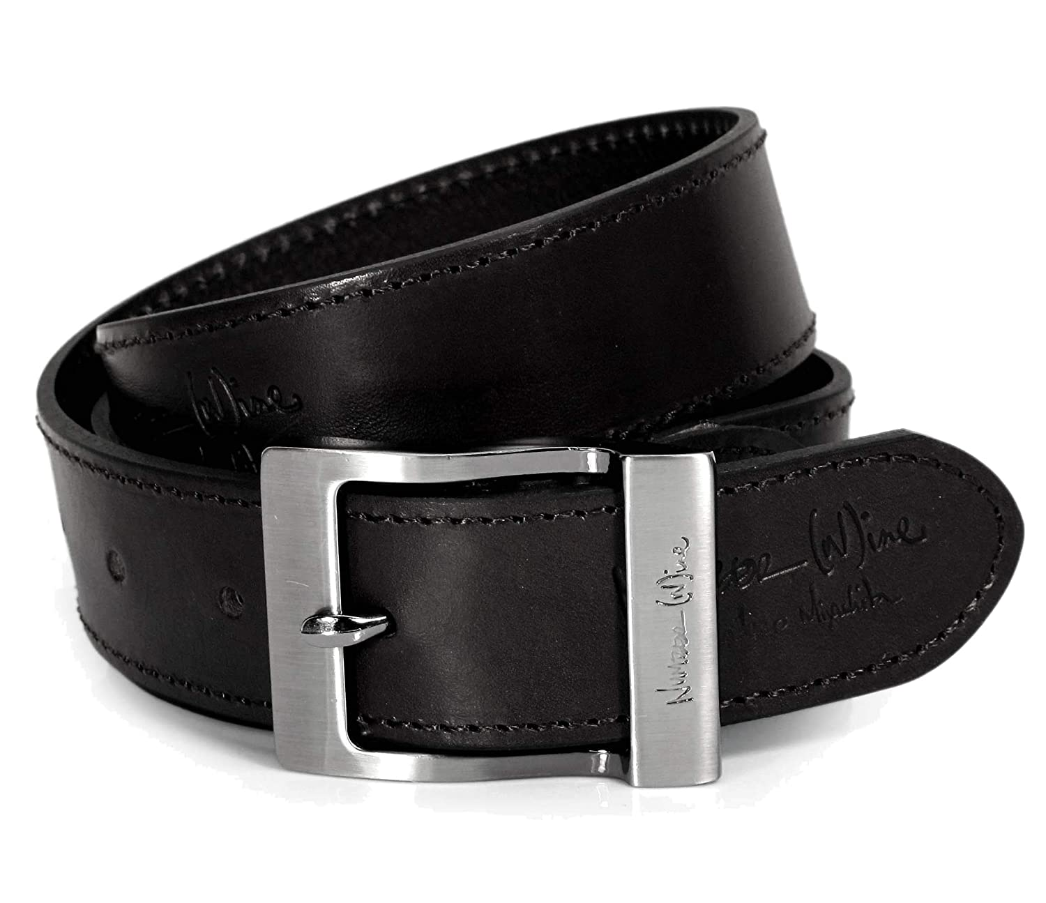 Mens Real Genuine Leather Black Belt 1.5 Wide S-XL Thick Long Casual Jeans CM1