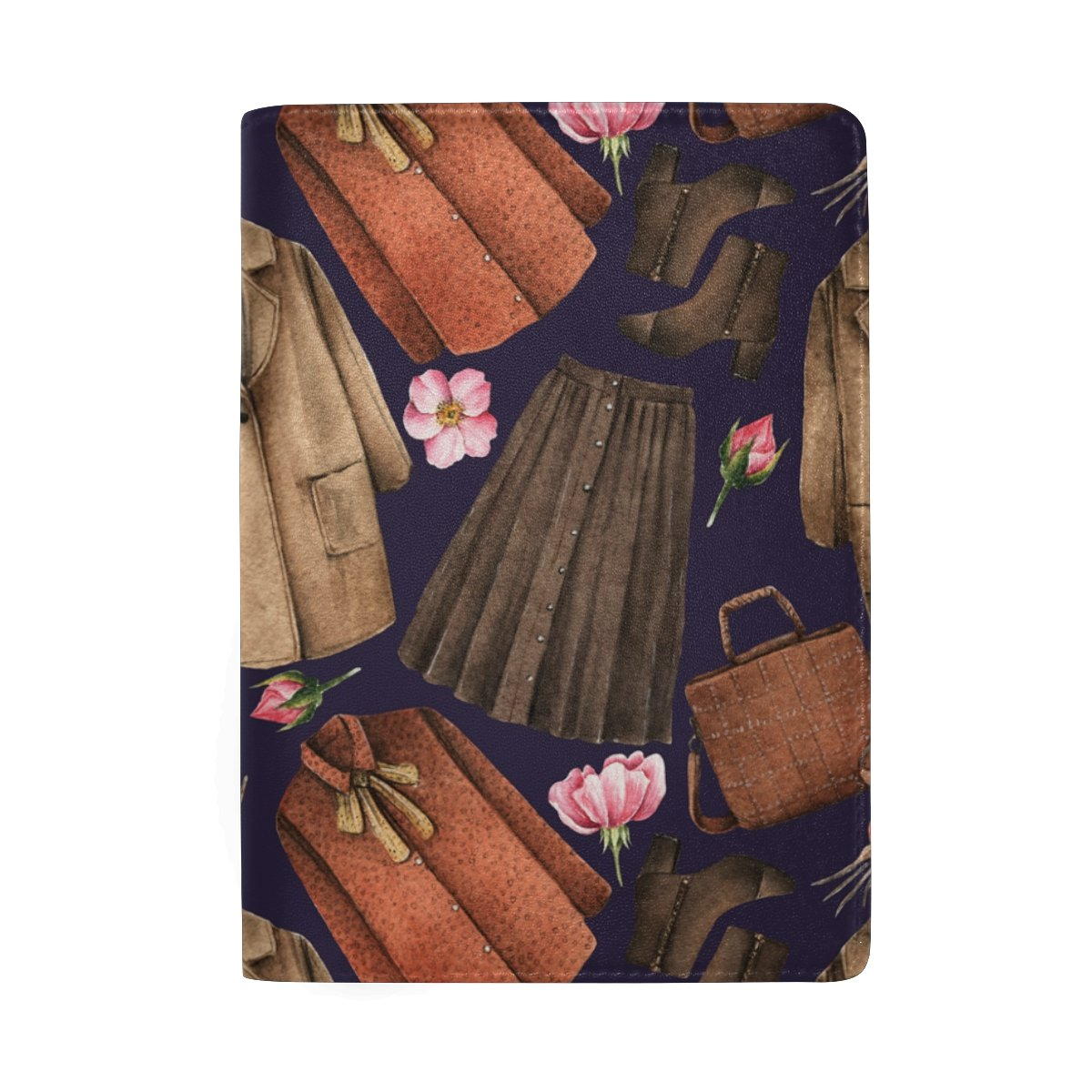 Watercolor Coat Skirt Leather Passport Holder Cover Travel Card Carrier Case