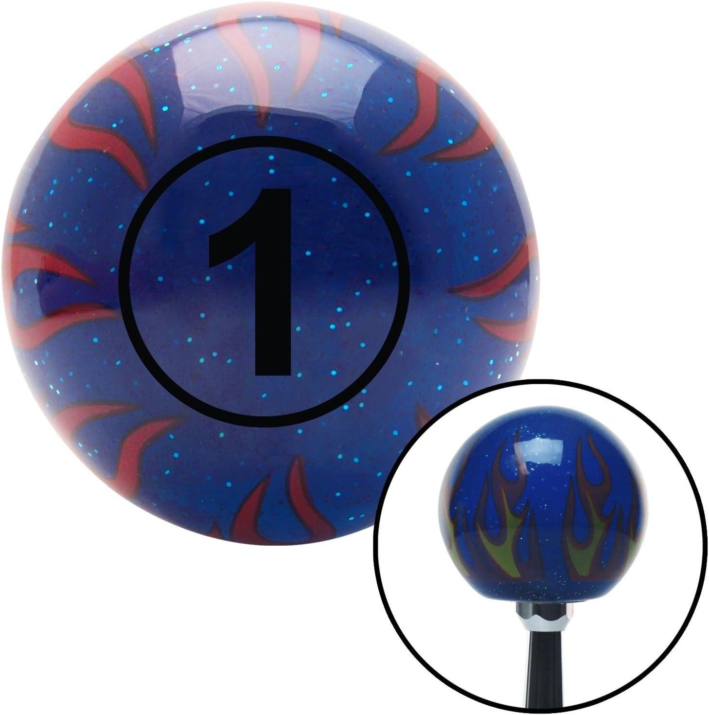 Black Ball #1 American Shifter 244509 Blue Flame Metal Flake Shift Knob with M16 x 1.5 Insert