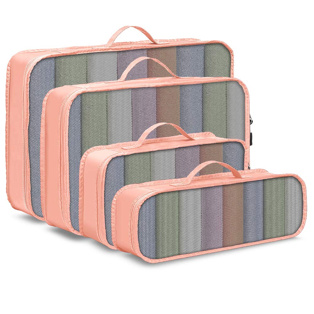 Packing Cubes Veckle 4 Pcs Travel Packing Organizers Mesh Cubes Suitcase Pink
