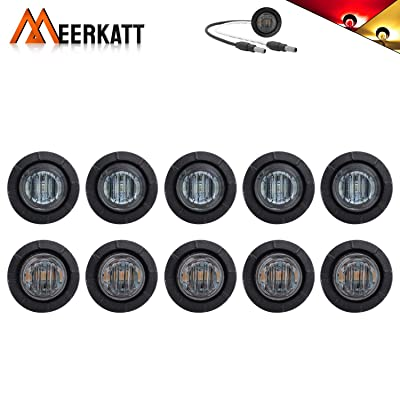 Meerkatt (Pack of 10) 3/4 Inch Mini Round Smoked Lens 5 Amber & 5 Red LED Bullet Small Side Marker Indicator Light Waterproof Button Grommet & Plug Trailer Tractor Van RV Bus Truck SUV 12v DC 3LED-DC: Automotive