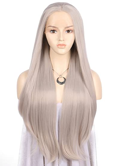 Amazon.com   TANYAWIGS Long Silver Gray Straight Lace Front Wigs Ash Blonde  Straight Heat Resistant Fiber Synthetic Wigs Middle Parted Wig For Women    ... c0713fd55
