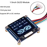 MakerFocus I2C OLED Display Module 1.5inch OLED Module with 128x128 Pixels, 16-bit Grey Level and Internal Controller, with SPI/I2C interface, DC 3.3V/ 5V for Arduino