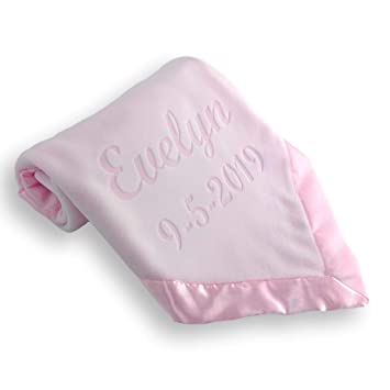 CUTE HANDS SUPER SOFT PINK BLUE BOY GIRL PERSONALISED EMBROIDERED BABY BLANKET