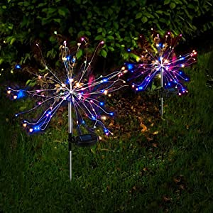 Anordsem Solar Garden Lights Outdoor, LED Firework Decor Lights with Auto ON-Off, DIY Dimmable Multi-Color Tree Shape Lights for Yard, Patio, Lawn and Christmas 2-Pack