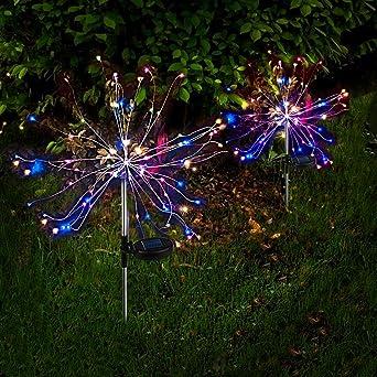 2 x Luz Solar Exterior Jardin Decoracion Fuegos Artificiales LED Luz Colorido de Cadena Solar con Centelleo y Encendido 2 Modos de Iluminación Impermeable para Jardín, Flores, Fiesta: Amazon.es: Iluminación