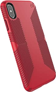 Speck Products Presidio Grip iPhone Xs Max Case, Heartrate Red/Vermillion Red, 120199-7778