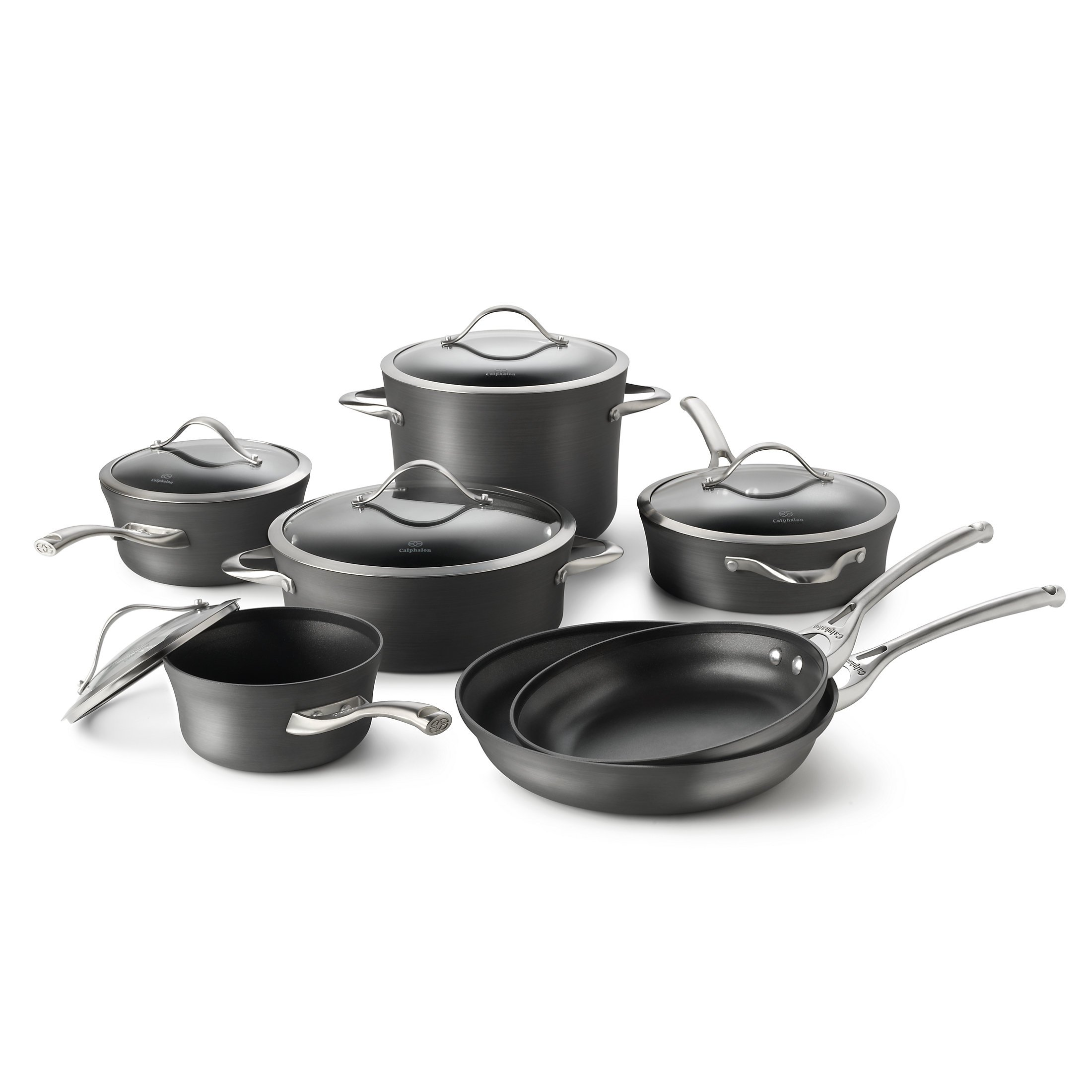 Calphalon 1876788 Contemporary Hard-Anodized Aluminum Nonstick Cookware Set, 12-Piece, Black