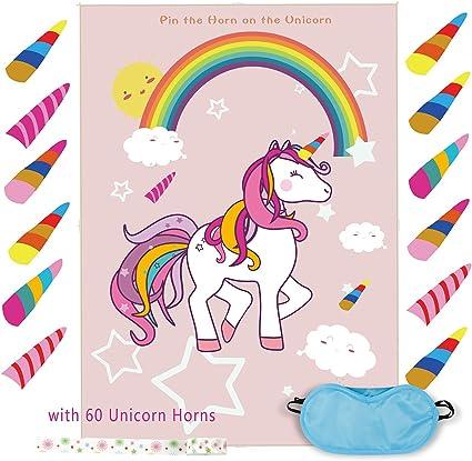 Amazon.com: Pin The Horn on The Unicorn Juego de cumpleaños ...