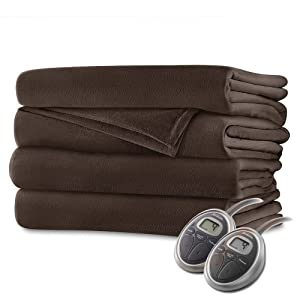 Sunbeam Luxurious Velvet Plush King Heated Blanket with 20 Heat Settings, Auto-Off, 2-Digital Controllers, 5 Yr Warranty - Walnut Brown
