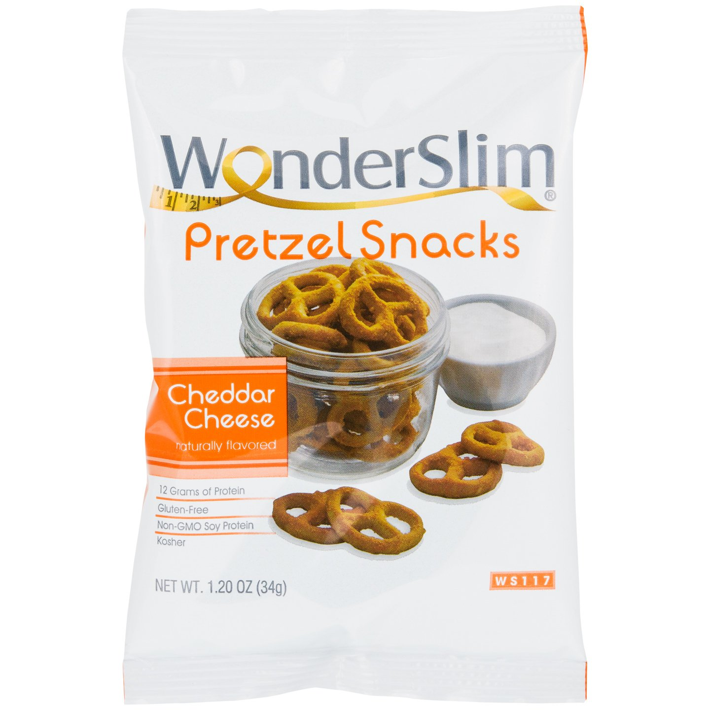 WonderSlim High Protein Pretzel Snacks - Low-Carb Diet Healthy 12g Protein Snack For Weight Loss, Cheddar, 10 Bags