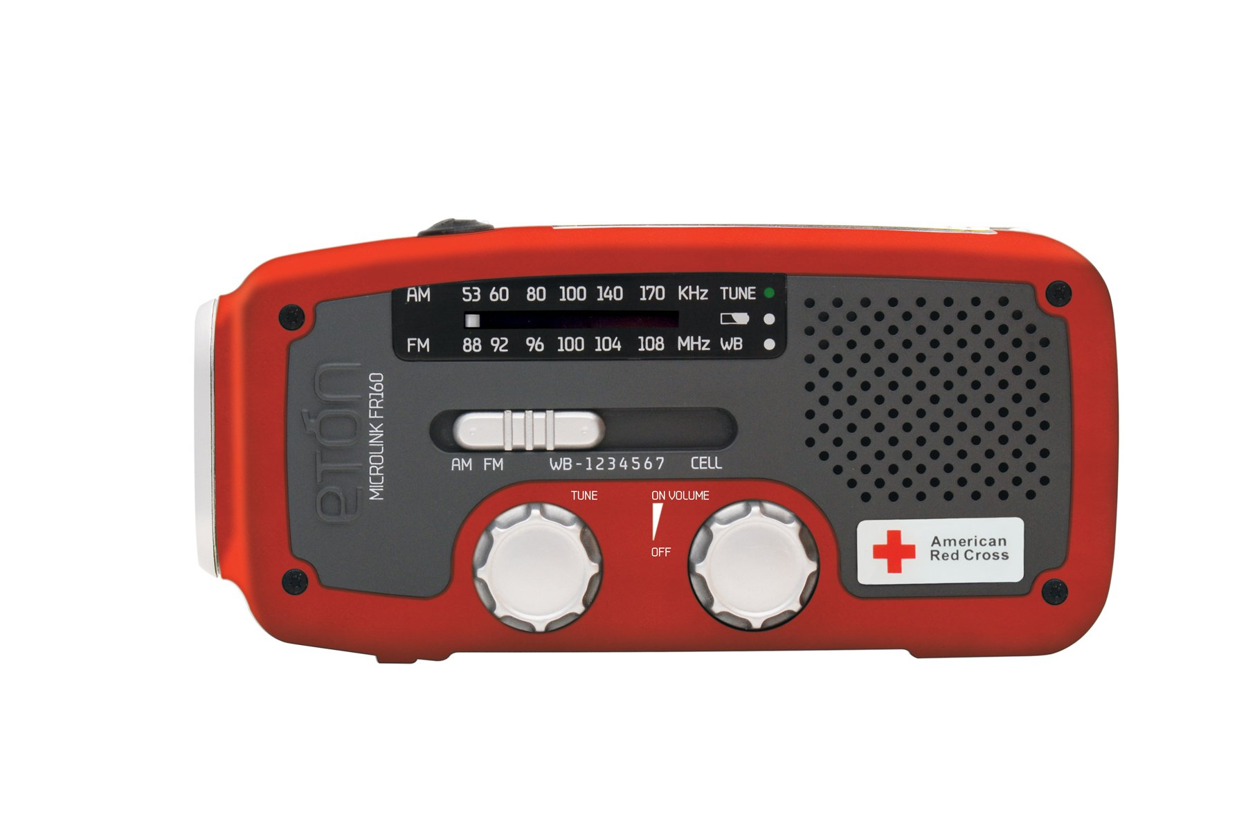 Etón American Red Cross FR160 Microlink Self-Powered AM/FM/NOAA Weather Radio with Flashlight, Solar Power and Cell Phone Charger (Red), ARCFR160WXR by Eton