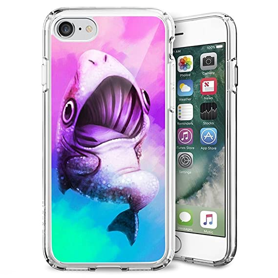 low priced 73b57 2a8fc Amazon.com: Slim Watercolor Shark iPhone 7 8 Phone Case Soft ...
