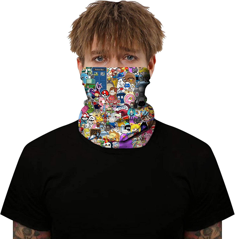 3D Face Masks Multifunctional Headwear Neck Scarf Bandana Balaclava Headband Hairband Tube Gaiter Stretch Snood for Sports Yoga Running Cycling Hiking