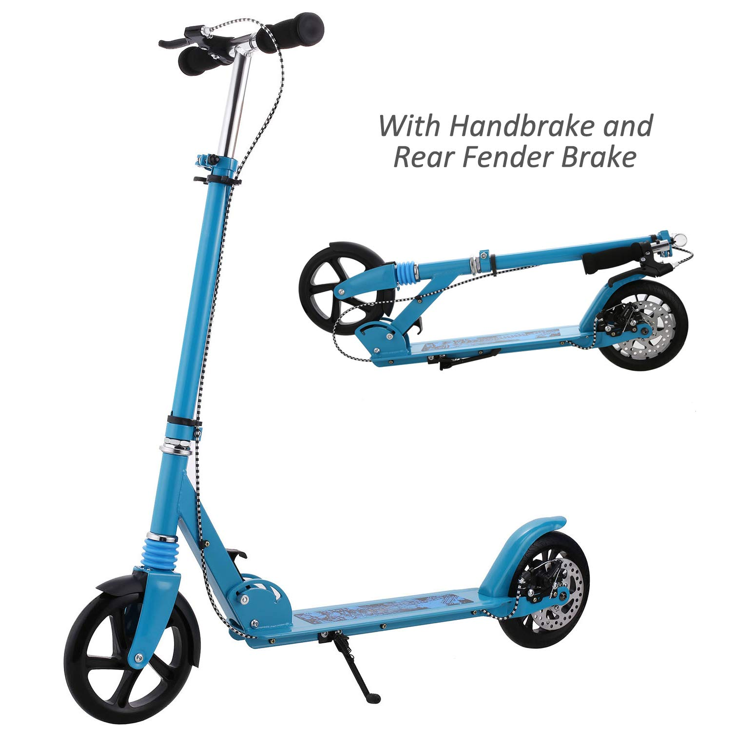 Hikole Adult Scooter Upgrade | Adjustable Height, Foldable, Hand Disc Break + Rear Fender Brake, Lightweight Aluminium Alloy Commuter Big Wheels Scooter for Adults Teens