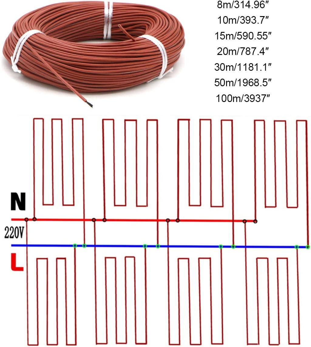 ECYC Heating Cables 12K Carbon Warm Floor Cable Water Pipe Protection Roof Deicing Heating Cable