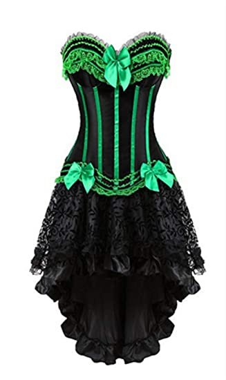 575e1f4b581 Women's Basque Gothic Boned Lace Bustier Corset with Steampunk Multi  Layered Chiffon Skirt Plus Size
