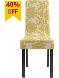 Homluxe Printed Spandex Stretch Dining Room Chair Slipcovers 4 Gold Tree