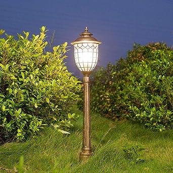 Lámpara de carretera Luz exterior Vintage E27 impermeable IP44 Aluminio Vidrio Sombra Jardín Patio Patio Prado Camino Lámpara, Bronce 18.5 * 25 * 145 cm: Amazon.es: Iluminación
