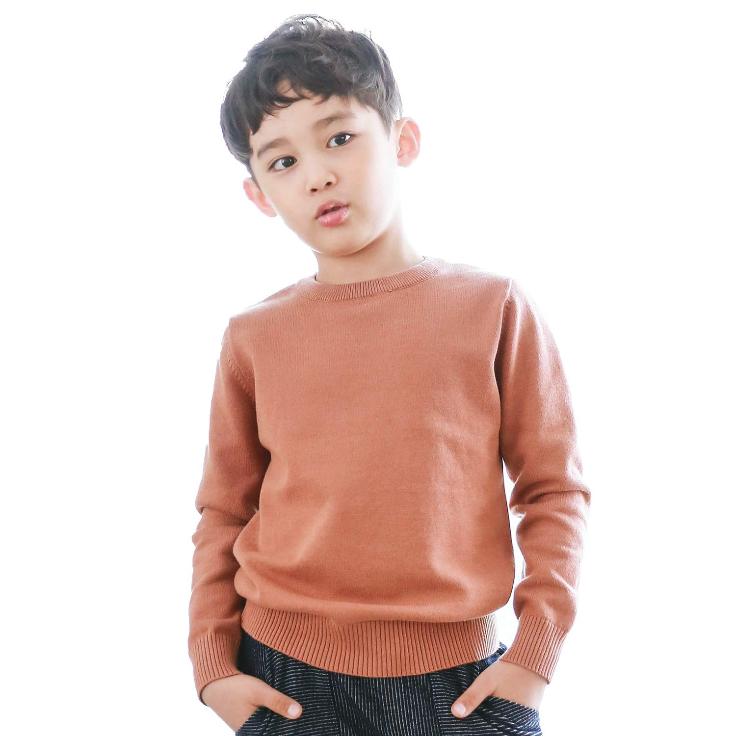 CUNYI Boys Long Sleeve Crew Neck Cotton Pullover Knit Sweater