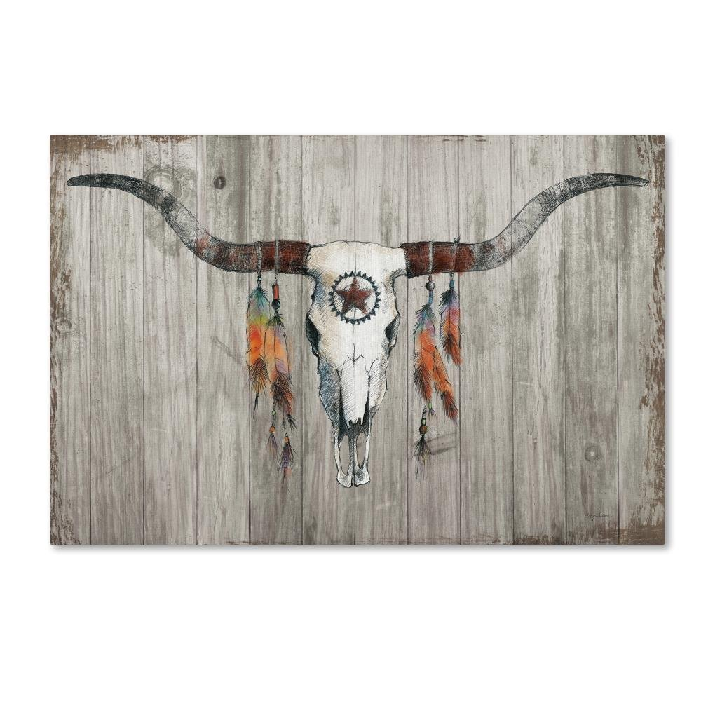 Longhorn on Dark Gray Wood by Avery Tillmon, 30x47-Inch Canvas Wall Art