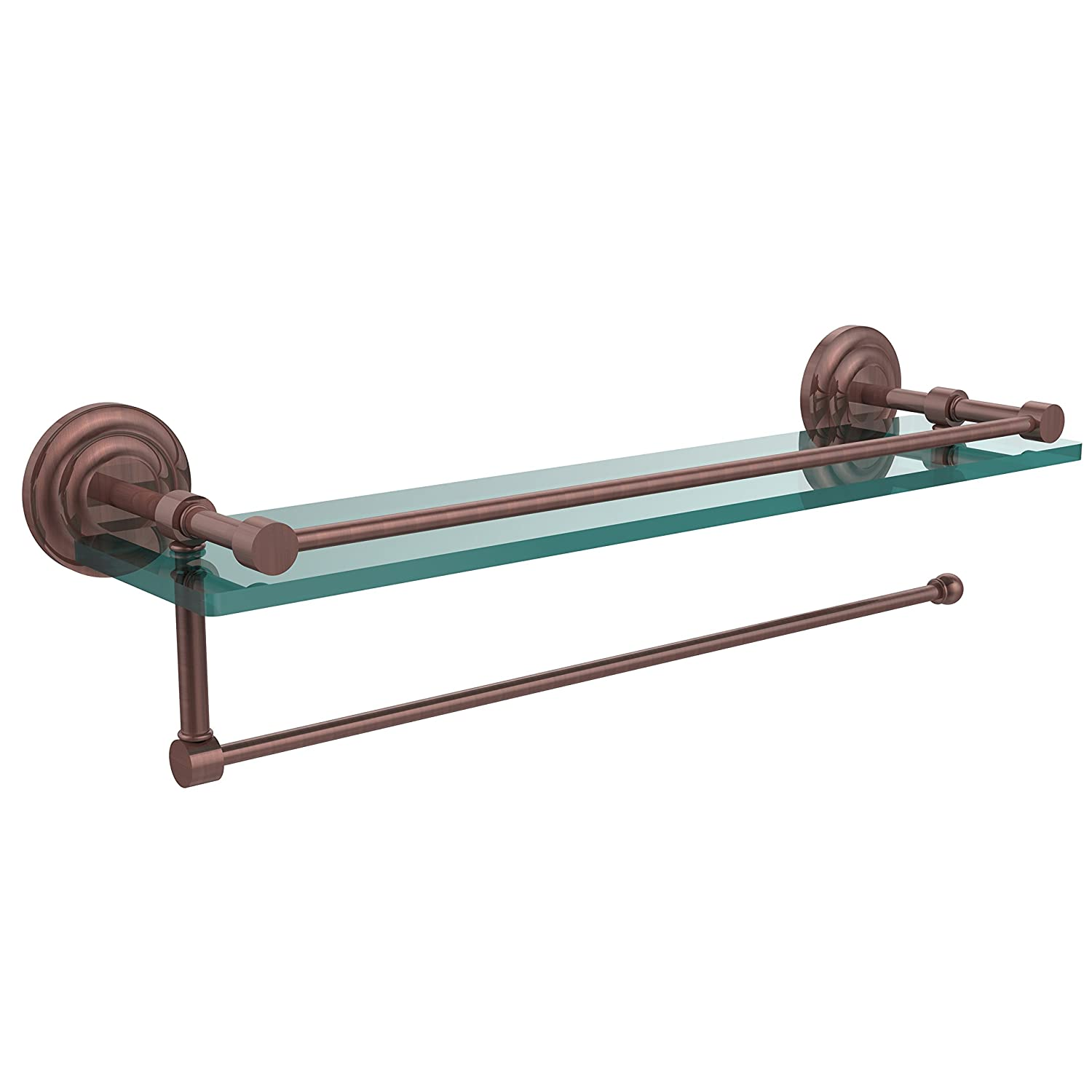 Allied Brass PQN-1PT//22-GAL-CA Prestige Que New Collection Paper Towel Holder with 22 Inch Gallery Glass Shelf Antique Copper