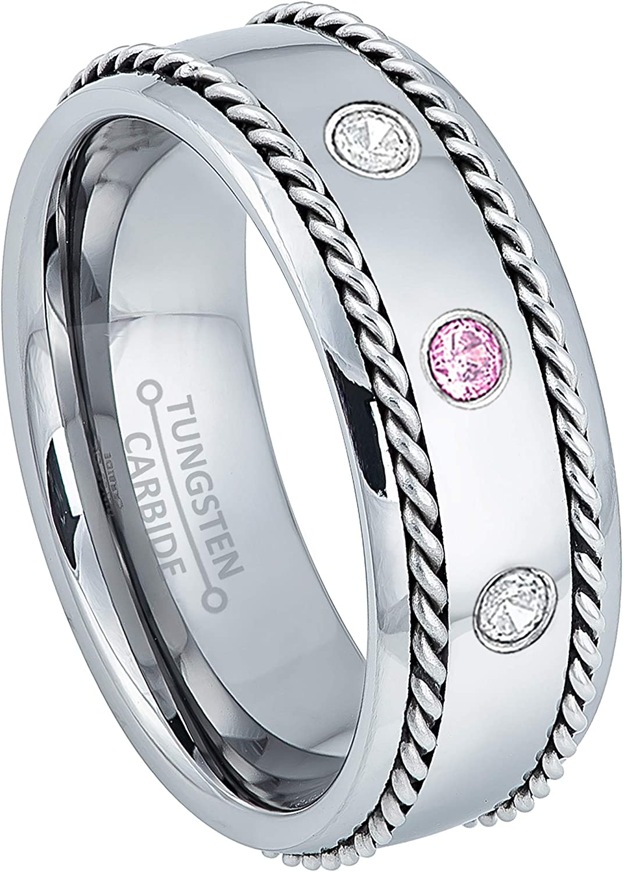 Jewelry Avalanche 0.21ctw Diamond /& Pink Tourmaline Tungsten 3-Stone Ring October Birthstone Ring 8mm Brushed Comfort Fit Tungsten Carbide Ring Tungsten Tungsten Wedding Band